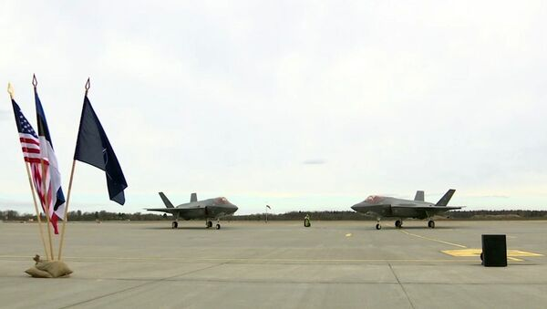 In this image made from video, two F35A fighter jets sit on the tarmac at the Amari Airbase in Harjumaa, Estonia, Tuesday, April 25, 2017 - Sputnik International