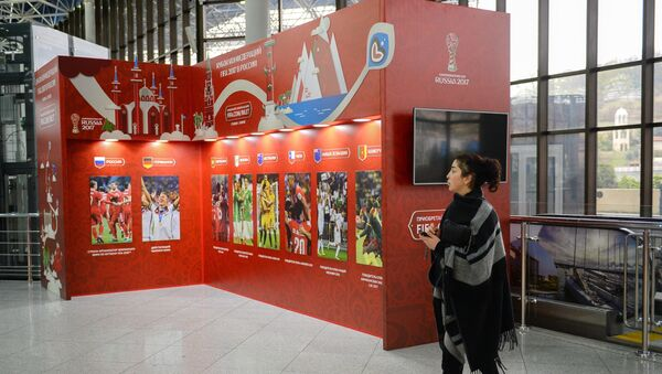 A stand with the 2017 Confederations Cup logo at the Sochi International Airport - Sputnik International