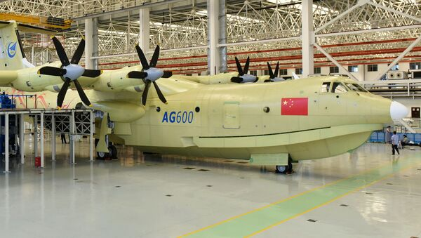 Amphibious aircraft AG600 rolls off a production line in Zhuhai, south China's Guangdong Province. - Sputnik International