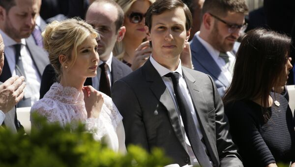 Ivanka Trump and her husband, White House advisor Jared Kushner, sit in the front row for a joint news conference at the White House in Washington, U.S - Sputnik International