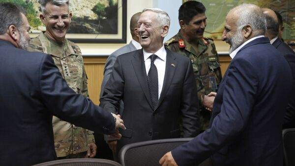 U.S. Defense Secretary James Mattis, center, and U.S. Army General John Nicholson, commander of U.S. Forces Afghanistan, second left, meet with Afghanistan's National Directorate of Security Director Mohammad Masoom Stanekzai, right, and other members of the Afghan delegation at Resolute Support headquarters in Kabul, Afghanistan in Kabul, Afghanistan Monday, April 24, 2017 - Sputnik International