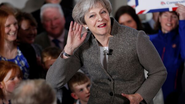 Britain's Prime Minister Theresa May speaks at an election campaign rally near Aberdeen in Scotland, Britain April 29, 2017. - Sputnik International