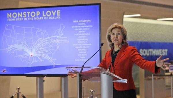 Former US Senator Kay Bailey Hutchison speaks at a news conference at Love Field in Dallas. (File) - Sputnik International