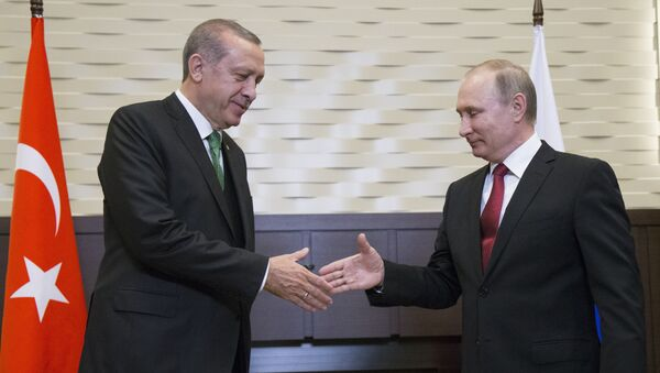 Russian President Vladimir Putin, right, and his Turkish counterpart Recep Tayyip Erdogan shake hands prior to their talks in Putin's residence in the Russian Black Sea resort of Sochi, Russia, Wednesday, May 3, 2017 - Sputnik International