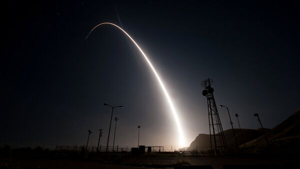 An unarmed Minuteman III intercontinental ballistic missile launches from Vandenberg Air Force Base, California, United States during an operational test at 12:03 a.m., PDT, in this April 26, 2017 handout photo - Sputnik International