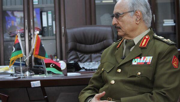 In this March 18, 2015 file photo, Gen. Khalifa Haftar speaks during an interview with The Associated Press in al-Marj, Libya. - Sputnik International