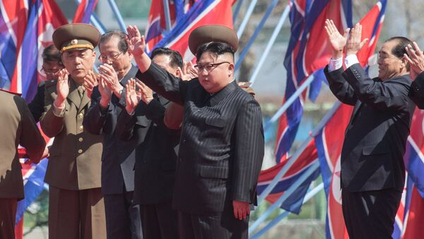 DRPK leader Kim Jong-un at a ceremony to open a new residential area on Ryomyong Street in Pyongyang. - Sputnik International
