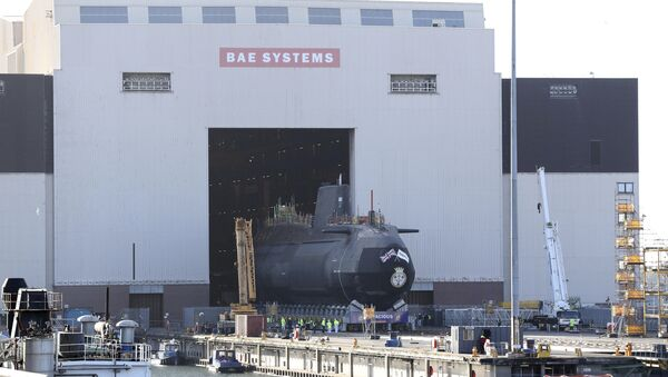 HMS Audacious, the fourth Astute-class nuclear-powered submarine of the Royal Navy, is taken out of the indoor ship building complex at BAE Systems, Burrow-in-Furness, England, Thursday April 27, 2017. HMS Audacious is due to be launched later in 2017. - Sputnik International