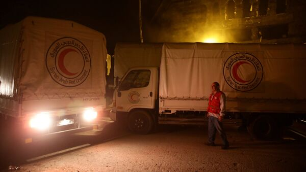 An aid convoy of food and medical supplies reaches the rebel-held besieged Syrian town of Douma, Damascus, Syria May 3, 2017 - Sputnik International
