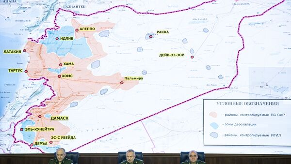 From left, Col. Gen. Sergei Rudskoi of the Russian General Staff, Deputy Defense Minister Alexander Fomin and Lt. Gen. Stanislav Gadzhimagomedov attend a briefing in the Defense Ministry in Moscow, Russia, Friday, May 5, 2017. Map displayed in the background shows regions controlled by the Syrian Army (in red), the de-escalation zones (in green), and areas controlled by Daesh (in dark blue). - Sputnik International