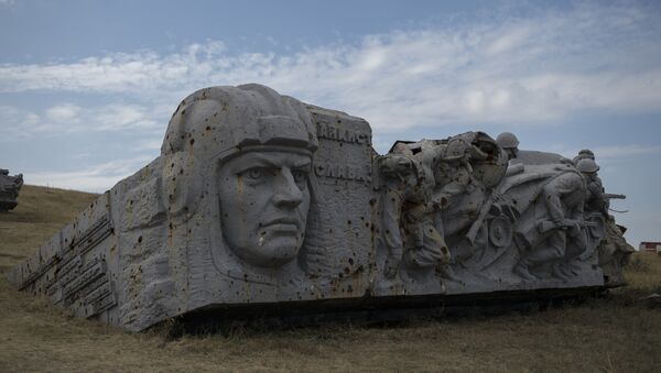 Ruins of the Saur-Mogila (Saur Grave) Memorial in Donetsk Region where festive events were held to celebrate the Day of Donbass Liberation from Nazi Invaders. - Sputnik International