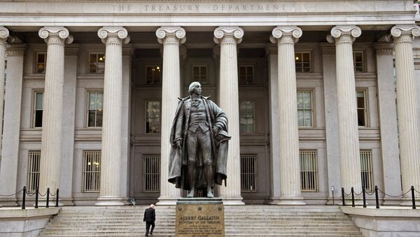 A man enters the US Treasury Department building on Pennsylvania Avenue on January 24, 2017, in Washington, DC. - Sputnik International