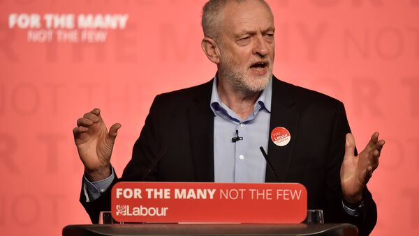 Britain's opposition Labour Party leader Jeremy Corbyn speaks at an election campaign rally in Leicester, Britain, May 6, 2017. - Sputnik International