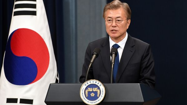 South Korea's new President Moon Jae-In speaks during a press conference at the presidential Blue House in Seoul - Sputnik International