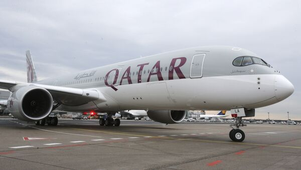 Qatar Airways Airbus A350 approaches the gate at the airport in Frankfurt, Germany - Sputnik International