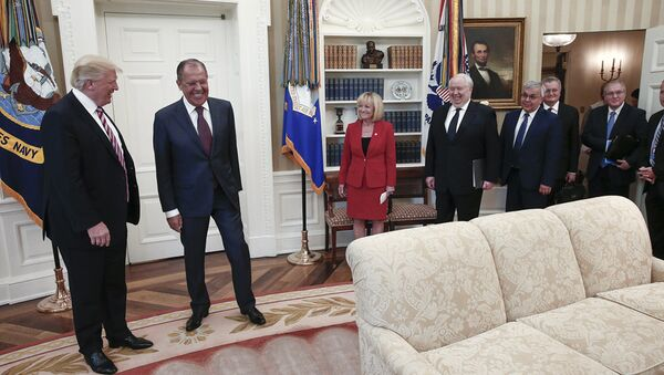 US President Donald J. Trump (L) and Russian Foreign Minister Sergei Lavrov (2-L) during a meeting at the White House in Washington, DC - Sputnik International