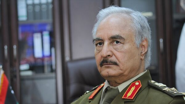 In this March 18, 2015 file photo, Gen. Khalifa Haftar, then Libya's top army chief, speaks during an interview with the Associated Press in al-Marj, Libya.  - Sputnik International