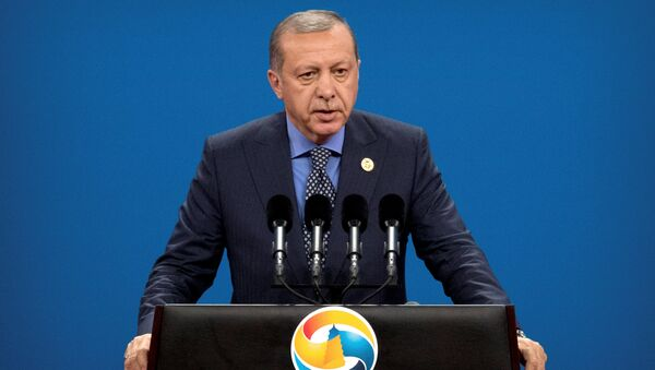 Turkey's President Tayyip Erdogan speaks during the opening ceremony of the Belt and Road Forum at the China National Convention Center (CNCC) in Beijing, May 14, 2017 - Sputnik International