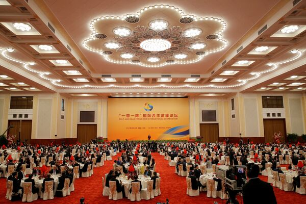 A view shows guests listen while Chinese President Xi Jinping delivers a speech during a welcome banquet for the Belt and Road Forum at the Great Hall of the People in Beijing, China, 14 May 2017 - Sputnik International