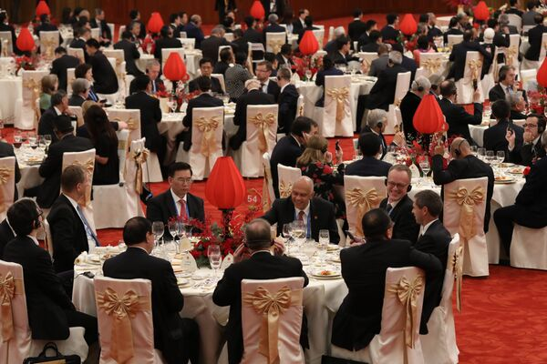 Guests attend a welcome banquet for the Belt and Road Forum at the Great Hall of the People in Beijing on May 14, 2017 - Sputnik International