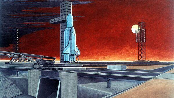 An artist's concept of a Soviet space shuttle and heavy-lift launch vehicle. (Soviet Military Power, 1986) - Sputnik International