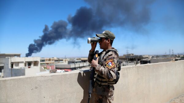 An Iraqi Counter Terrorism Services (CTS) soldier looks though binoculars during a battle between CTS and Islamic State militants in western Mosul, Iraq, April 25, 2017.  - Sputnik International