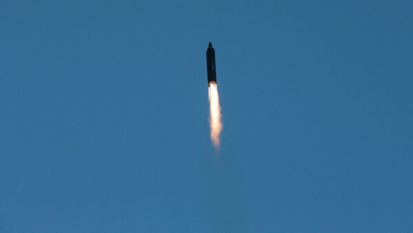 The long-range strategic ballistic rocket Hwasong-12 (Mars-12) is launched during a test in this undated photo released by North Korea's Korean Central News Agency (KCNA) on May 15, 2017. - Sputnik International