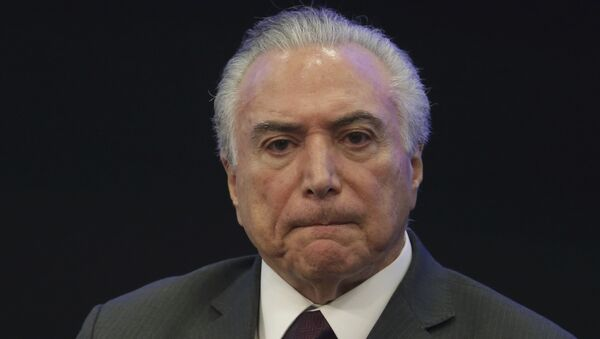 Brazil's President Michel Temer listens in during a event at the Brazilian Institute of Research in Brasilia, Brazil, Monday, May 8, 2017 - Sputnik International