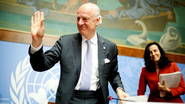 United Nations Special Envoy for Syria Staffan de Mistura leaves a news conference during the Intra Syria talks at the United Nations Offices in Geneva, Switzerland, May 19, 2017 - Sputnik International