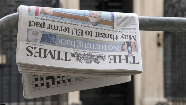A copy of the March 30 edition of The Times newspaper with the headline May threat to EU terror pact is pictured outside 10 Downing Street in central London on March 30, 2017 - Sputnik International