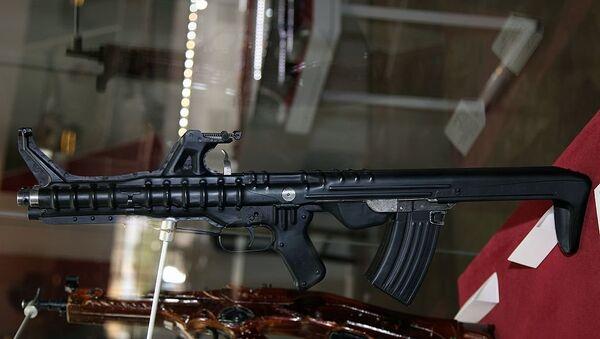 Triple barrel TKB-059 Korobov assault rifle at Tula State Arms Museum - Sputnik International