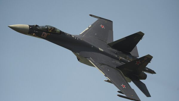 The Su-35 fighter performing on Air Force Day in Russia's Lipetsk. File photo  - Sputnik International