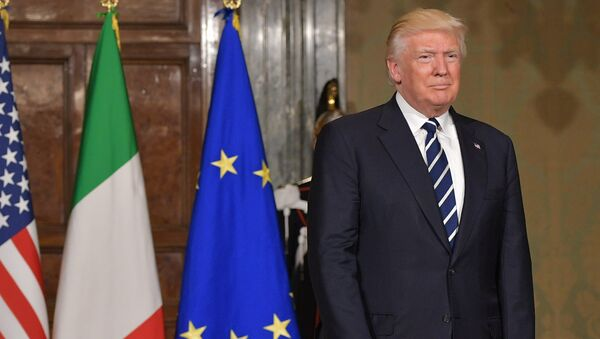 US President Donald Trump arrives for a meeting with Italy's President Sergio Mattarella at the Quirinale Presidential Palace in Rome - Sputnik International