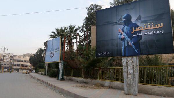 Islamic State billboards are seen along a street in Raqqa, eastern Syria. The billboard (R) reads: We will win despite the global coalition (File) - Sputnik International