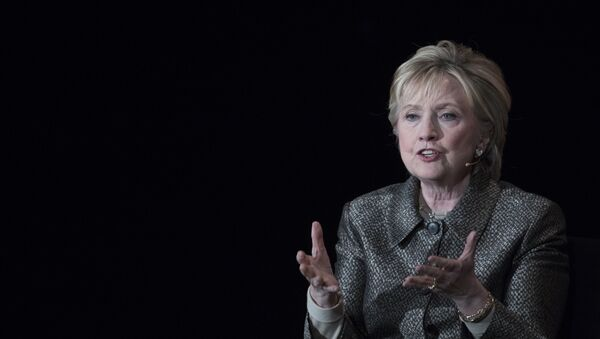 Former Secretary of State Hillary Clinton speaks during the Women in the World Summit at Lincoln Center in New York, Thursday, April 6, 2017 - Sputnik International