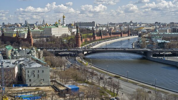 View of the Moscow Kremlin, the Moskva River from the Cathedral of Christ the Savior in Moscow - Sputnik International