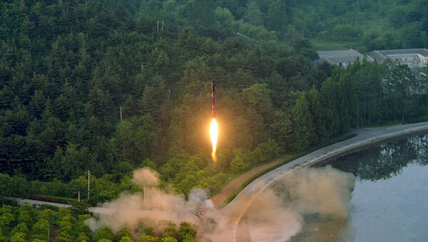 A ballistic rocket is test-fired through a precision control guidance system in this undated photo released by North Korea's Korean Central News Agency (KCNA) May 30, 2017 - Sputnik International