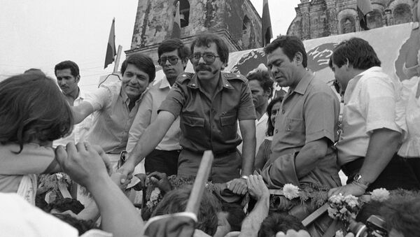 FILE - In this Oct. 28, 1984 file photo, Nicaraguan presidential candidate for the Sandinista National Liberation Front Daniel Ortega reaches out to supporters during a final campaign appearance in Leon, Nicaragua - Sputnik International