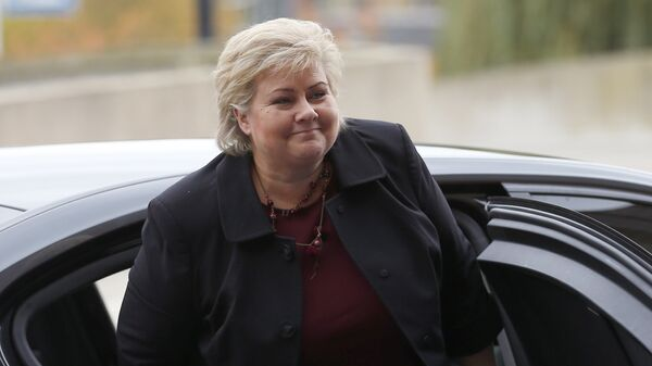 Norway's Prime Minister Erna Solberg arrives for a meeting of the European People's Party in Maastricht, southern Netherlands, Thursday, Oct. 20, 2016. - Sputnik International