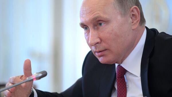 Russian President Vladimir Putin speaks during a meeting with representatives of international news agencies in St. Petersburg, Russia - Sputnik International
