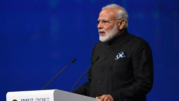 India's Prime Minister Narendra Modi delivers a speech during a session of the St. Petersburg International Economic Forum (SPIEF), Russia, June 2, 2017. - Sputnik International