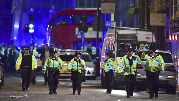 Police officers on Borough High Street as police are dealing with an incident on London Bridge in London, Saturday, June 3, 2017. - Sputnik International