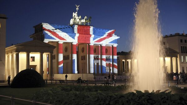 A view of the Brandenburg Gate in Berlin after it was illuminated in the colors of the British union flag Sunday June 4, 2017 - Sputnik International