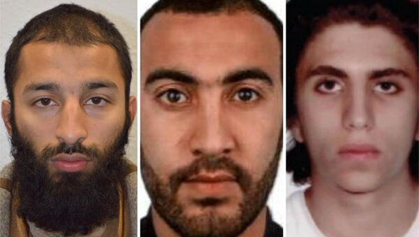 Italian national Youssef Zaghba, 22, identified by Italian and British law enforcement bodies as the third man shot dead by police officers during the attack on London Bridge and Borough Market is seen on right with the other two men named, Khuram Shazad Butt on left and Rachid Redouane, in an undated image handed out by the Metropolitan Police, June 6, 2017, - Sputnik International