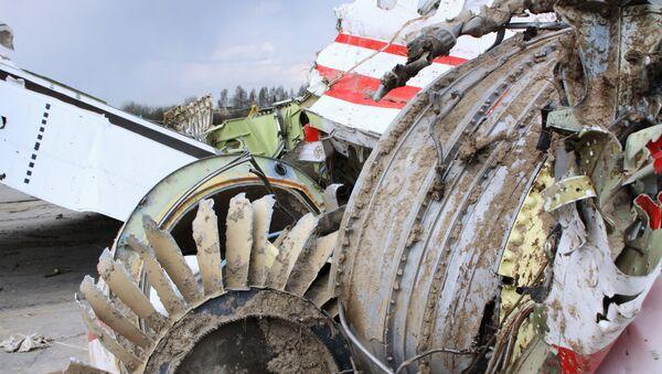 Polish President Lech Kaczynski's Tu-154 aircraft debris at Smolensk airfield's secured area - Sputnik International