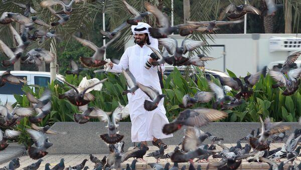 A man looks at pigeons at Souq Waqif market in Doha, Qatar, June 6, 2017. - Sputnik International