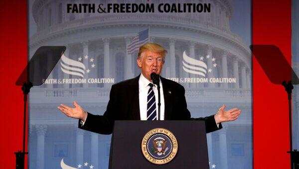 U.S. President Donald Trump addresses the Faith and Freedom Coalition's Road to Majority conference in Washington, U.S., June 8, 2017 - Sputnik International