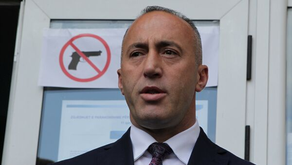 Ramush Haradinaj, candidate for Prime Minister, of the coalition of the former Kosovo Liberation Army (KLA) commanders AAK, PDK and NISMA speaks before the press during the Parliamentary elections in Pristina, Kosovo June 11, 2017. - Sputnik International