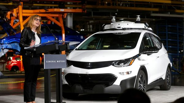General Motors Chairman & CEO Mary Barra updates auto workers and the media on autonomous vehicles development and the Chevrolet Bolt EV at GM's Orion Assembly plant in Orion, Michigan, U.S., June13, 2017 - Sputnik International