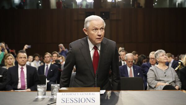Attorney General Jeff Sessions arrives on Capitol Hill in Washington, Tuesday, June 13, 2017, to testify before the Senate Intelligence Committee hearing about his role in the firing of James Comey, his Russian contacts during the campaign and his decision to recuse from an investigation into possible ties between Moscow and associates of President Donald Trump. - Sputnik International